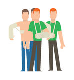 Multiple injury set trauma accident and human body safety vector people silhouette. Stock Image
