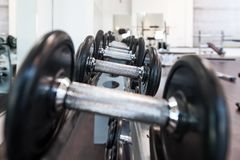 Multiple iron dumbbells in sport center royalty free stock photography