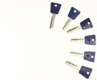 Multiple keys. Several keys arranged in a semicircle Stock Photography