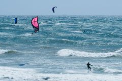 Multiple Kiteboarders Royalty Free Stock Photos
