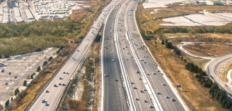 Multiple lane Highway - Freeway aerial view Royalty Free Stock Photos