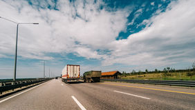 Multiple lane highway in sunny day Royalty Free Stock Images