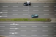 Multiple Lane road. The plan view and aerial view of a multiple lane road with traffic Stock Photography