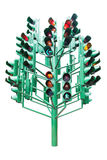 Multiple large traffic lights post made from green metal Royalty Free Stock Image