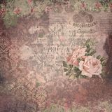 Vintage Ephemera and Roses Collage Paper Background - Distress Grunge Floral Elements. Multiple layered textures of ephemera, floral elements, damask and roses Stock Images