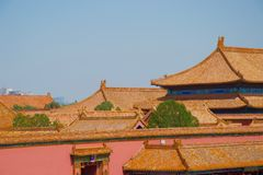 Multiple layered traditional orange chinese tiled roofs Forbidden City, Beijing. Tiered mass of traditional chinese roofs, orange tiles and the occasional tree royalty free stock images