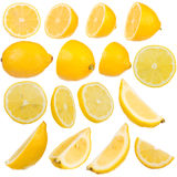 Multiple lemon on white background isolated Royalty Free Stock Photography