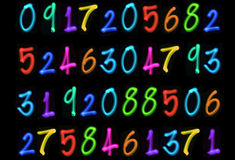 Multiple light numbers Royalty Free Stock Photography