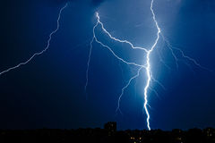 Multiple lightning bolts above Bucharest Royalty Free Stock Photos