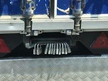 Missing a lock?. Multiple locks on a truck :& x29 Stock Photo