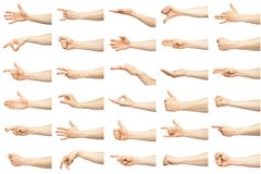 Multiple male caucasian hand gestures. Isolated over the white background, set of multiple images stock image