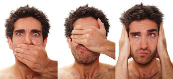 Multiple male expressions. Young man with multiple face expressions Stock Photo