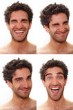Multiple male expressions. Young man with multiple face expressions Stock Images