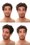 Multiple male expressions. Young man with multiple face expressions Stock Photography