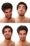 Multiple male expressions. Young man with multiple face expressions Stock Image