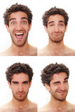 Multiple male expressions. Young man with multiple face expressions Stock Photos