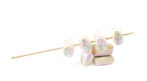 Multiple marshmallows on a stick Stock Images