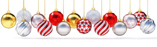 Multiple metallic christmas balls isolated on white background. royalty free stock photos