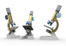 Multiple microscopes. 3D render illustration of multiple microscopes isolated on a white background with shadows Stock Photo
