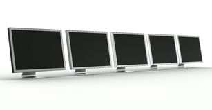Multiple monitors. 3d rendering of multiple monitors on a row Royalty Free Stock Image