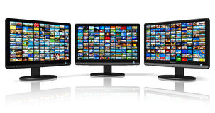 Multiple monitors with image gallery Stock Photo