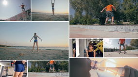 Multiple montage. People invopved in healthy fitness. Healthy lifestyle concept. stock footage