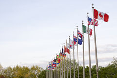 Multiple National Country Flags. Several National flags waving on top of flag poles off center Royalty Free Stock Image