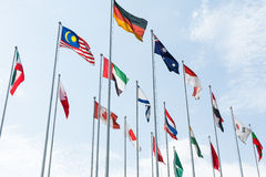 Multiple National Country Flags waving Royalty Free Stock Images