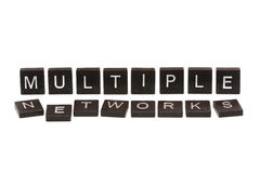 Multiple networks scrabble tiles Royalty Free Stock Photos
