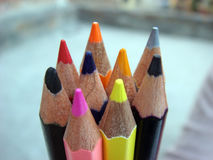 Multiple nibs of crayon pencils. Picture of multiple nibs of crayon pencils Stock Photos