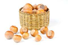 Multiple nuts in basket Stock Photography
