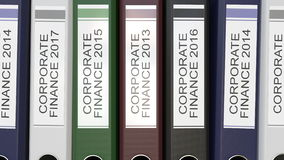 Multiple office folders with Corporate finance text labels 3D rendering different years. Multiple office folders with Corporate finance tags 3D different years stock illustration
