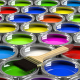 Multiple open paint cans. Multiple open paint cans with a brush. Rainbow colors. Creativity and diversity concept. 3d illustration Stock Illustration
