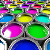 Multiple open paint cans. Multiple open paint cans with a brush. Rainbow colors. Creativity and diversity concept. 3d illustration Royalty Free Stock Image