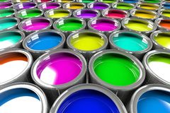 Multiple open paint cans. Rainbow colors. Creativity and diversity concept Royalty Free Stock Photos