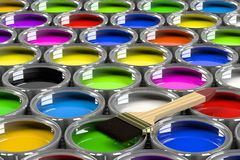 Multiple open paint cans. Rainbow colors. Creativity and diversity concept Royalty Free Stock Photo