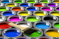 Multiple open paint cans. Royalty Free Stock Image