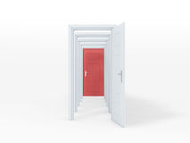 Multiple Opened Doors. Multiple white opened doors with red door at last on white background Royalty Free Stock Photos