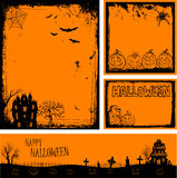 Multiple orange Halloween banners and backgrounds Stock Photos