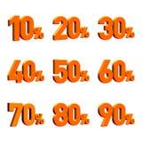 Multiple percentage 3D render. High resolution percentage (orange colour, done in 3d royalty free illustration