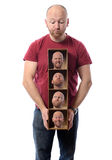 Multiple personalities. Man choosing Many faces concept symbolizing different emotions or multiple personalities Stock Photo