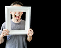 Multiple photos of young man with white frame Stock Images