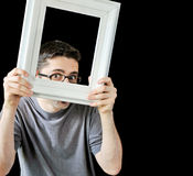 Multiple photos of young man with white frame Royalty Free Stock Image