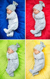 Multiple picture of a newborn child Stock Photos