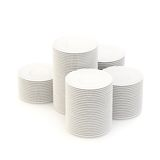 Multiple piles of plates isolated. Multiple piles of the white ceramic plates isolated on the white background Stock Photography