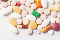 Multiple pills depicting medical treatment or pahrmaceutical ind. Ustry. High resolution image stock photo