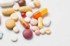 Multiple pills depicting medical treatment or pahrmaceutical ind. Ustry. High resolution image stock image
