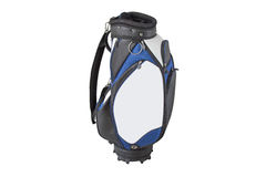 Multiple pockets golf bag in blue white black with quick release. Front view of a multiple pockets golf bag in blue white black with quick release shoulder Stock Image