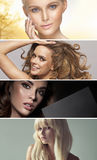 Multiple portrait of four stunning ladies Stock Photos