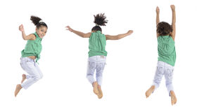 Multiple Poses of A Girl Jumping in the Air Stock Photography